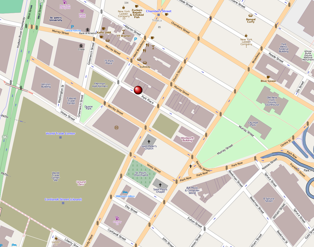 A color map of the blocks surrounding Ground Zero (a large green square) and the Park51 site as marked by a a red pin.