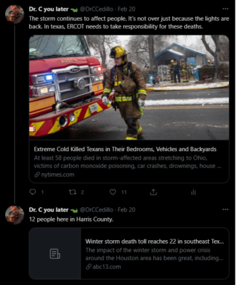 A twitter thread from Christina about storm-related deaths in her area
