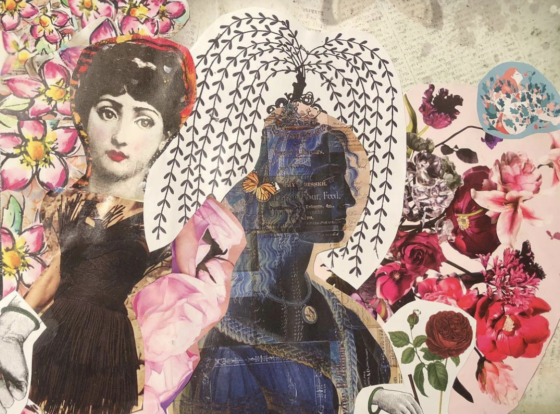 A collage made by Lauren featuring several kinds of flowers as well as two figures. One of the figures has words inside their body, many of which are covered by hair or other images.
